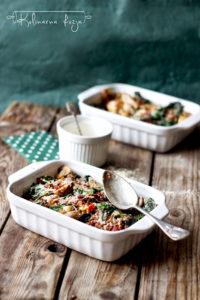 bezglutenowa zapiekanka z warzywami i kurczakiem